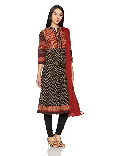 BIBA Women's Anarkali Cotton Suit Set 36 Red & Black by Biba
