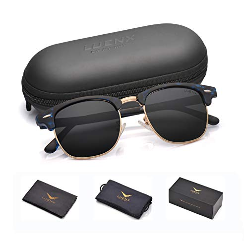 Men Semi Rimless Polarized Sunglasses Women UV 400 Protection Black Lens Tortoise Blue Retro Frame 51MM,by LUENX with Case