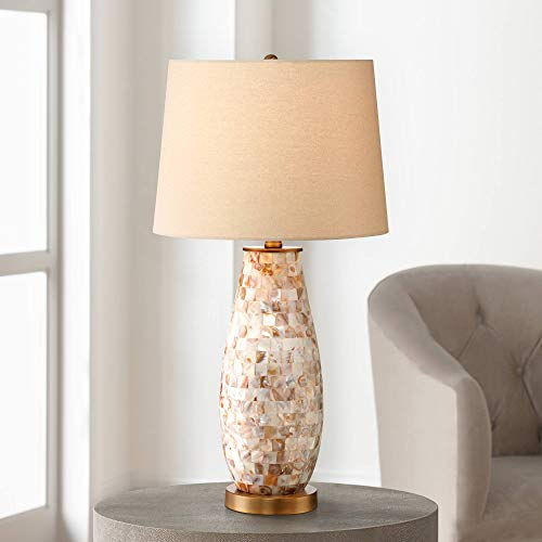(Kylie Cottage Table Lamp Mother of Pearl Tile Vase Beige Drum Shade for Living Room Family Bedroom Bedside Nightstand - Regency Hill)