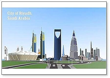 Imán para nevera con ilustración de la ciudad de Riad Arabia ...
