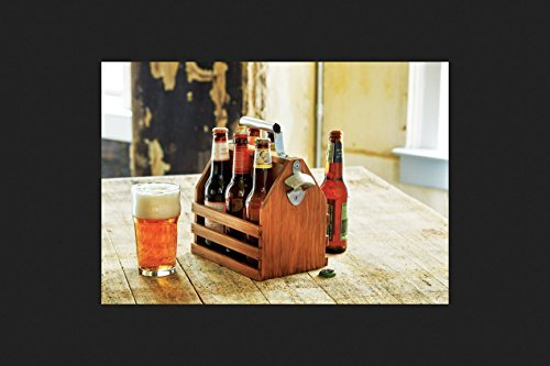 Refinery and Co. Wooden Bottle Caddy, Six-Pack Beer Carrier with Built-In Metal Bottle Opener, Moisture-Resistant Brew Holder, Protect Up to 6 Bottles of Craft Beer and Homebrew, Natural Vintage Stain