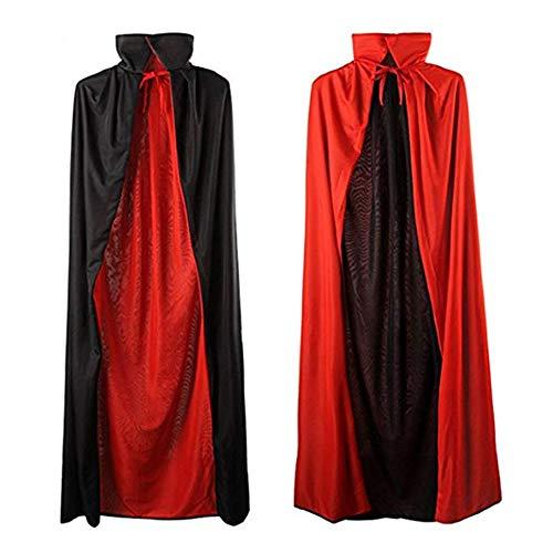 Vampire Cape,Reversible Red Black Cloak,Halloween Cloak Robe Costume ,Medieval Cosplay Kids Adult -