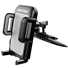 Mpow CD Slot Car Mount, Universal Phone Holder, 360° Rotating Phone Cradle Holder with One-Click Release and Three Side Grips Button for iPhone 7/7 plus / 6S/6S Plus / Galaxy S7/ S7 Edge / LG / HTC / Nexus 5X/6/6P / Huawei and More - Gray