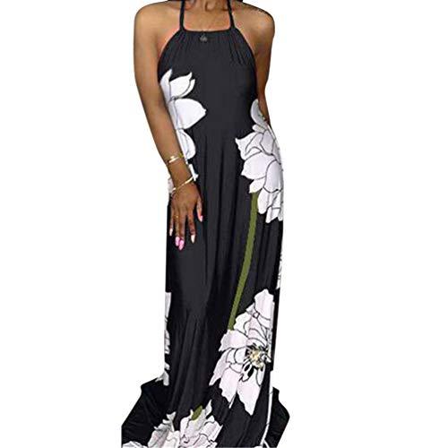 Womens Sun Dresses Beach Sleeveless - Sexy Halter Neck Vintage Floral Print Backless Party Summer Maxi Long Dress Black ()