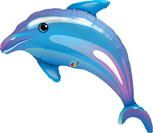 Qualatex Delightful Dolphin Microfoil Balloon, 42-Inches, Blue, 1-Unit
