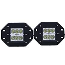 """(Pack of 2) Tips4wise 5"""" 1800LM 6 LEDs Flood Mounting Light Bar Flush Mount Lamp Truck Boat ATV SUV Jeep Off-road 4x4 (18W Square Car Lights)"""