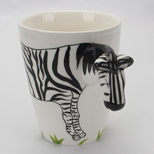 Novelty Morning Hand Painted Coffee Mug - Zebra Fun Handle Handmade Large 15 oz Porcelain Tea Cup Unique Ideal Gifts