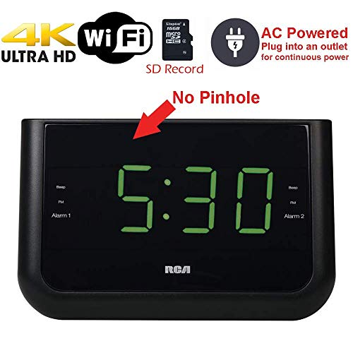 SecureGuard 4K Ultra HD Alarm Clock Radio WiFi Hidden Security Nanny Cam Spy Camera 2160P UHD Camera (100% Covert/WiFi / 4K / Made in The USA)
