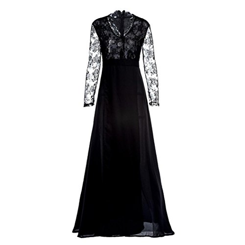 2018 Hot Fashion Women Deep V-Neck Lace Long Sleeves Tunic Evening Party Wedding Long Dress (Black, M)
