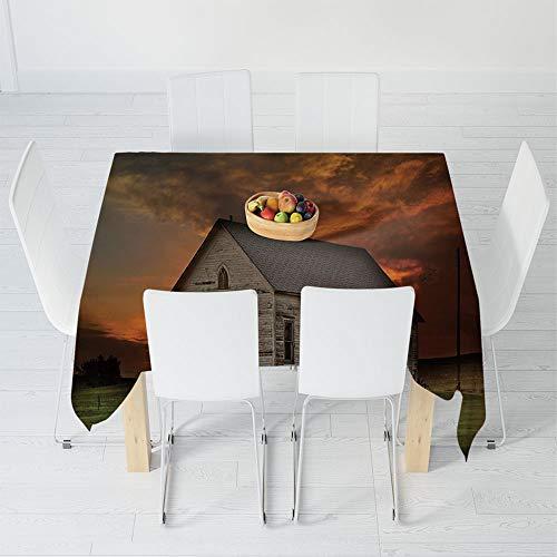 (Custom Tablecloth,Western,for Home & Office & Restaurant Table Tea Table,55 X 55 Inch,Rustic Prairie Building in Western South Dakota)