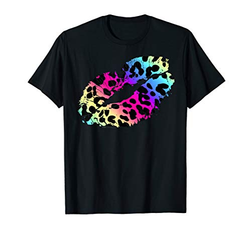 Retro 80s 90s Lipstick Kiss Leopard 1980's Costume T-Shirt -