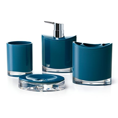 Dark Blue Color Accessories - IMMANUEL Optic Designer 4-Piece Modern Blue Bathroom Accessory Ensemble Set, Tumbler, Toothbrush Holder, Lotion Dispenser and Soap Dish Included, Durable Scratch Resistant Acrylic Bath Organizer