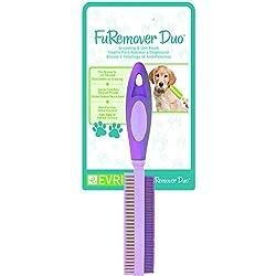 Evriholder FURemover - Escoba con limpiacristales y peine de pelusa, hecha de goma natural, multisuperficie y eliminación de pelo de mascotas, mango telescópico que se extiende de 3 pies a 6 pies, Duo Brush, 1