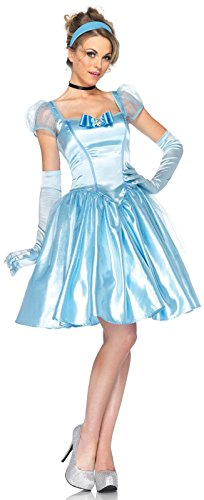 Leg Avenue Disney 3Pc. Classic Cinderella Costume Satin Dress Choker and Headband, Blue, Medium - Classic Cinderella Costume