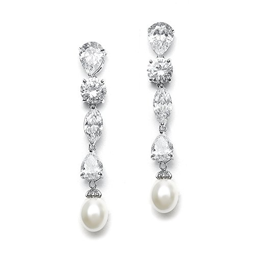 Mariell Pear-Shaped, Marquis and Round-Cut Long CZ Dangle Bridal Earrings with Freshwater Pearl Drops (Marquis Shaped Earrings)
