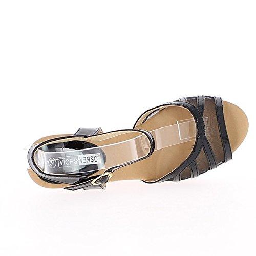 Lackiert schwarz Keil Sandalen und Spitzen bis 9,5 cm Absatz