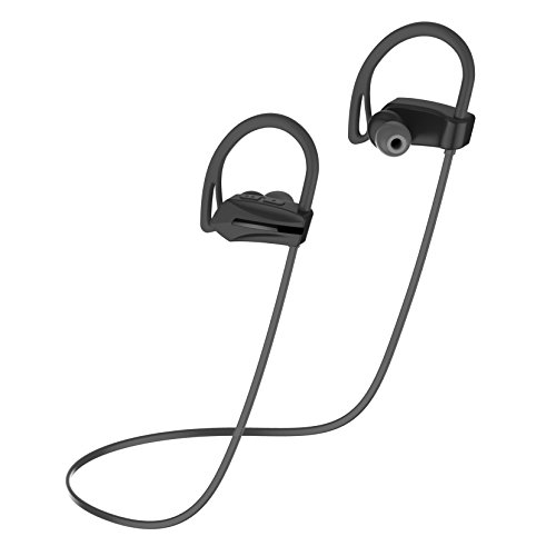 Showkoo Neckband Wireless Earbuds Bluetooth Sports In Ear Headphones Around Neck Headset with Microphone Sweatproof Earpieces for Gym Running Earphones for iPhone Apple Samsung (SK08,Black) - Best Wings In Dc