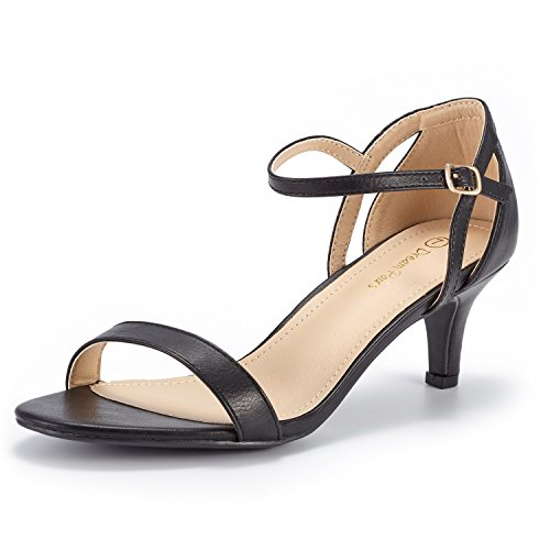 DREAM PAIRS Women's LEXII Black Pu Fashion Stilettos Open Toe Pump Heel Sandals Size 7.5 B(M) ()