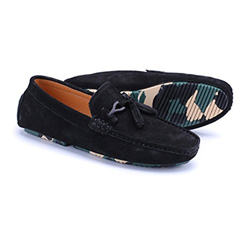 Mocassini uomo Color shoes pelle Nero decor Xiaojuan Dimensione con nappa in Mocassini 40 da EU penny guida da vera Cachi zA6q8