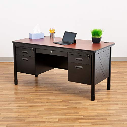 Learniture Steel Double Pedestal Teachers Desk, Black/Cherry, NOR-66361-PK