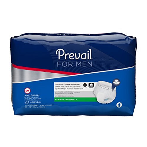Prevail Maximum Absorbency Incontinence Underwear for Men, Small/Medium, 20-Count