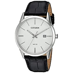 Citizen Men's Quartz Stainless Steel and Leather Casual Watch, Color:Black (Model: BI5000-01A)