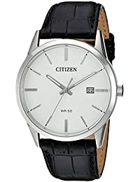 Men's Quartz Stainless Steel and Leather Casual Watch, Color Black (Model: BI5000-01A)