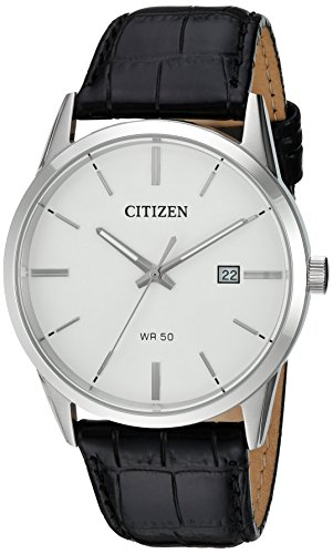 (Citizen Men's Quartz Stainless Steel and Leather Casual Watch, Color:Black (Model: BI5000-01A))