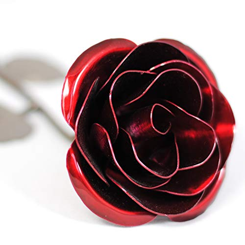 Personalized Gift Hand-Forged Wrought Iron Red Metal Rose - Valentine's Day - Flower Wishes Best Vase