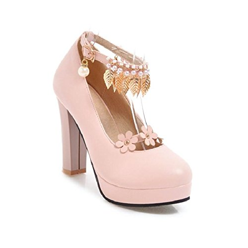 GTVERNH-Dulce 10Cm Alto Talón Zapatos Lazos Los Zapatos De Mujer El Muelle Solo Zapatos Impermeable Metal Y Decorado Con Flores 39 Rosa