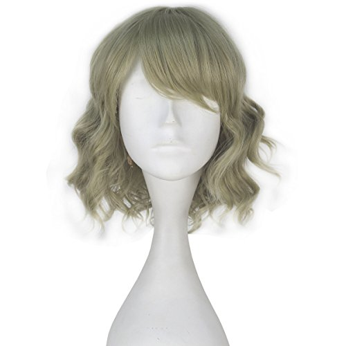 Miss U Hair Girl Synthetic Short Curly Light Green Wig Game Cosplay Costume Wig (Girl Wig Fantasy)