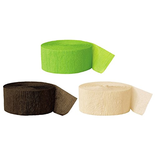 Andaz Press Crepe Paper Streamer Hanging Party Decorations Kit, 240-Feet, Kiwi Green, Brown, Ivory, 1-Pack, 3-Rolls, Camouflage Woodland Colored Wedding Baby Bridal Shower Birthday Supplies