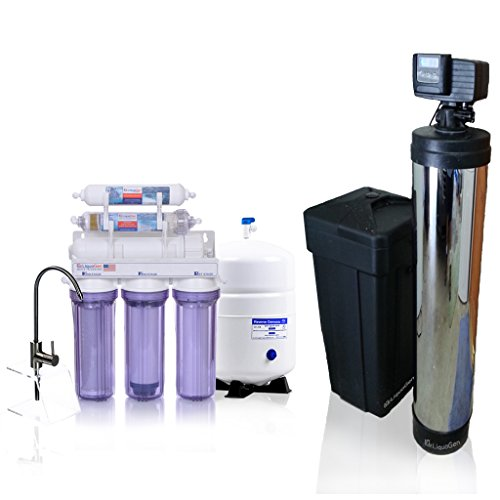 Whole-House-Water-Filtration-Kit-w-Chrome-Jacket-Fleck-5600-Metered-on-Demand-Water-Softener-6-Stage-High-Flow-Antioxidant-Reverse-Osmosis-Drinking-Water-Purification-System-LiquaGen-Water