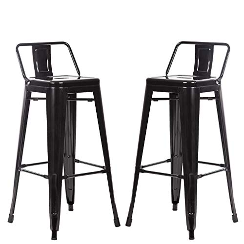 BestMassage Metal Stools Bar stools 30 Inch Height Set of 2 Low Backrest Stackable Barstools Indoor Outdoor Dining Kitchen Tolix Style Bar Stools