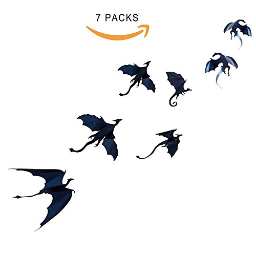 Dazonge Dragon Wall Decals-7 Pack Lot Game of Thrones Spired DIY Halloween Gothic 3D Removable Dragon Wall Stickers for Wall Decor,Home (Dragon Wall Stickers)