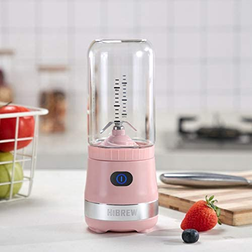HiBREW Pink Portable Mini Cordless Single Serve Personal Blender for Smoothies and Shakes, Juice Maker for Travel and Camping, 4000mAh Rechargeable USB, 15 oz BPA free Plastic Jug (Pink)