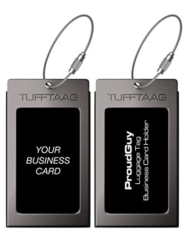 Luggage Tags Business Card Holder TUFFTAAG Travel ID Bag Tag in Many Color Options (2 Tags, Gunmetal Steel) ()