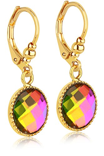 Multicolored Iridescent Crystal Dangle Earrings - 24K Gold Coated - By Clecceli (24k Gold Drop)