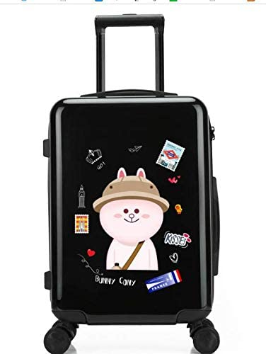 Tjtz 24 inch Suitcase Small Fresh College Student Trolley Universal Wheel Suitcase Color : Black