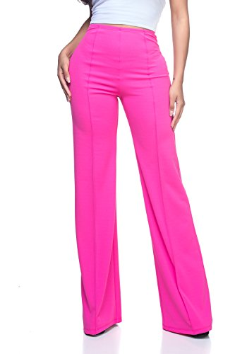 Women's Junior Plus J2 Love High Waist Bell Bottom Flare Pants, 3X, Fuchsia by Cemi Ceri