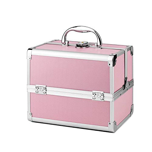AMASAVA Makeup Train Case, 3 Tiers Makeup Box with Mirror Portable Mini Storage Beauty Box Cosmetic Case Jewelry Organiser Lockable Artist Storage Case Pink from AMASAVA