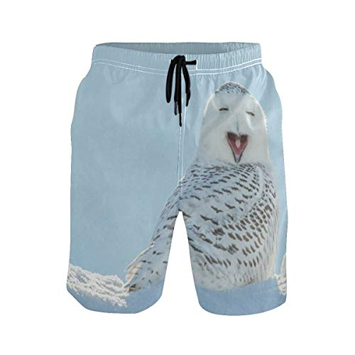 Mens Swim Trunks,Snowy Owl Yawning Beach Board Shorts with Pockets Casual Athletic Swimming Short L