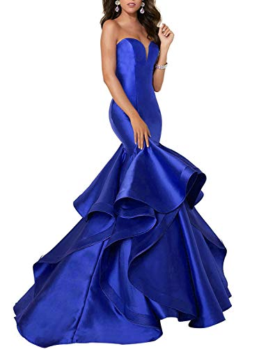 Scarisee Women's Sweetheart Mermaid Prom Evening Dresses Tiered Formal Celebrity Party Gowns Sweep Train Royal Blue 14 (Gown Prom Slim)