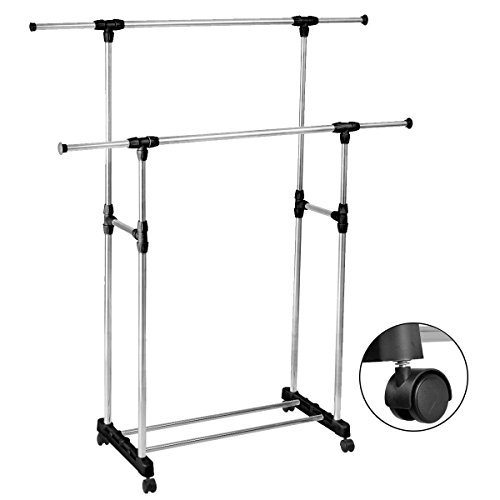 HEAVY DUTY-Double Adjustable Portable Clothes Rack Hanger Extendable Rolling (Wall Accordian Mirror)