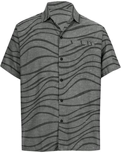 LA LEELA Hawaiian Shirt for Men Beach Button Down Black_AA1 XS | Chest 36