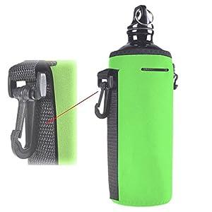 Water Bottle Sleeve, Protable Neoprene Insulated Water Bottle Cooler Carrier Cover Sleeve Tote Bag Pouch Holder Strap with Hook for Kid Children Women MEN Biker (green)