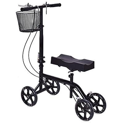 MD Group Foldable Knee Walker Scooter Turning Brake Basket