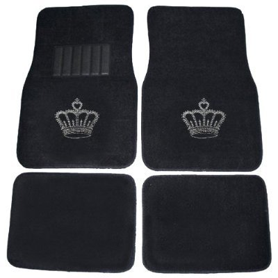 Best savings for Crown Gem Crystal Studded Rhinestone Bling Car Truck SUV Floor Mats Universal-fit Bucket Seat Covers & Steering Wheel Cover – Combo Kit Gift Set