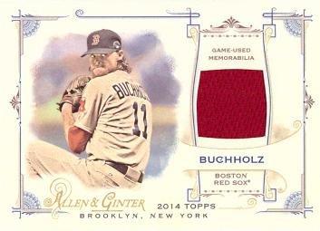 2014-topps-allen-ginter-full-size-relics-frb-cbu-clay-buchholz-game-worn-jersey-baseball-card-near-m