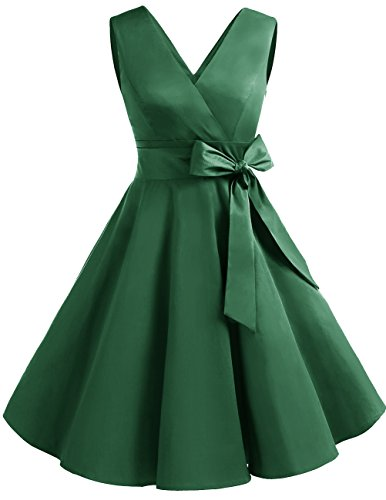 Green Collo Donne Dresstells Vestito Cocktail 1950 Vintage Audrey V Hepbun rChsQtd